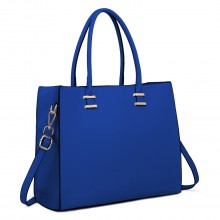L1509 - Miss Lulu Leather Look Classic Square Shoulder Bag Navy