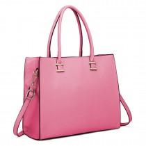 L1509 - Miss Lulu Leather Look Classic Square Shoulder Bag Plum