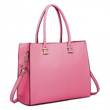 L1509 - Miss Lulu Leather Look Classic Square Shoulder Bag Plum