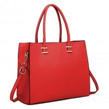 L1509 - Miss Lulu Leather Look Classic Square Shoulder Bag Red