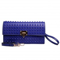 L1510 - Miss Lulu Leather Look Studded Envelope Clutch Bag Navy