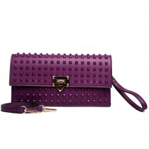 L1510 - Miss Lulu Leather Look Studded Envelope Clutch Bag Purple
