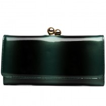 L1511B - Miss Lulu Patent Leather Look Ball Clasp Matinee Purse Green And Black