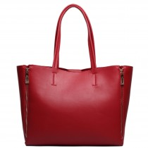 L1513 - Miss Lulu Leather Look Expanding Tote Handbag Red