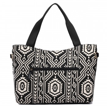L1515-1AZ - Miss Lulu Fashionable Canvas Aztec Tote Bag Black