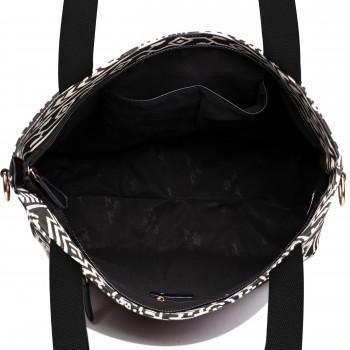 L1515-1AZ - Miss Lulu Fashionable Canvas Aztec Tote Bag Black