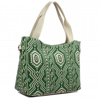 L1515-1AZ - Miss Lulu Fashionable Canvas Aztec Tote Bag Green