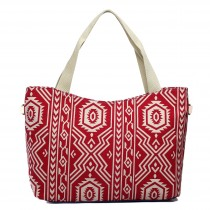 L1515-1AZ - Miss Lulu Fashionable Canvas Aztec Tote Bag Red