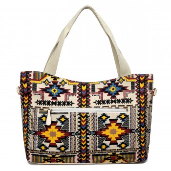 L1515-1CN - Miss Lulu Fashionable Canvas Mayan Tote Bag Beige