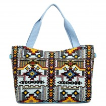 L1515-1CN - Miss Lulu Fashionable Canvas Mayan Tote Bag Blue