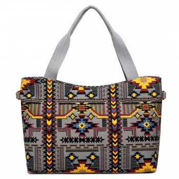 L1515-1CN - Miss Lulu Fashionable Canvas Mayan Tote Bag Grey