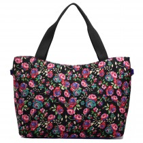 L1515-1NF - Miss Lulu Fashionable Canvas Flower Tote Bag Black