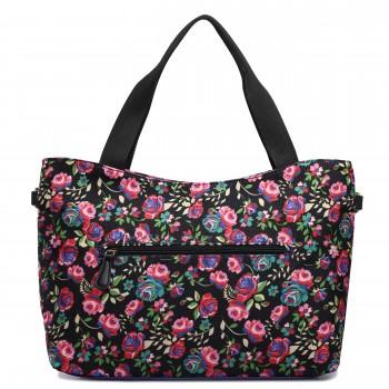 L1515-1NF - Miss Lulu Fashionable Canvas Flower Tote Bag Black