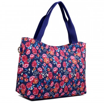 L1515-1NF - Miss Lulu Fashionable Canvas Flower Tote Bag Navy