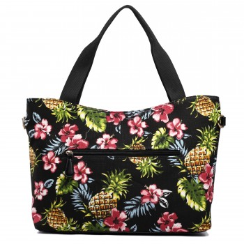 L1515-1P - Miss Lulu Fashionable Canvas Pineapple Tote Bag Black