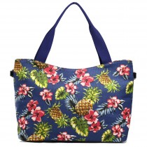 L1515-1P - Miss Lulu Fashionable Canvas Pineapple Tote Bag Navy