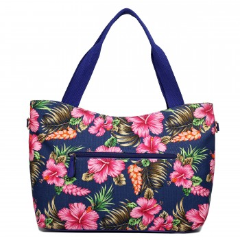 L1515-1YH - Miss Lulu Fashionable Canvas Hibiscus Flower Tote Bag Navy