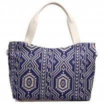 L1515AZ - Miss Lulu Stylish Canvas Aztec Tote Bag Navy