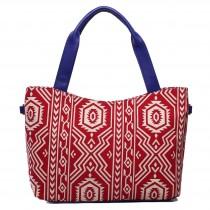 L1515AZ - Miss Lulu Stylish Canvas Aztec Tote Bag Red