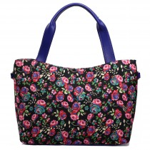 L1515NF - Miss Lulu Stylish Canvas Flower Tote Bag Black
