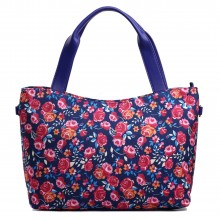 L1515NF - Miss Lulu Stylish Canvas Flower Tote Bag Navy
