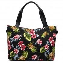 L1515P - Miss Lulu Stylish Canvas Pineapple Tote Bag Black