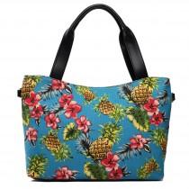 L1515P - Miss Lulu Stylish Canvas Pineapple Tote Bag Light Blue