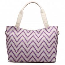 L1515S - Miss Lulu Stylish Canvas Striped Tote Bag Purple