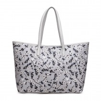 L1516-16F GY- Miss Lulu Fashionable Oilcloth Coated Cotton Flower Print Tote Bag Grey
