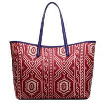 L1516AZ - Miss Lulu Fashionable Oilcloth Aztec Tote Bag Red