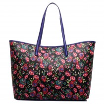 L1516NF - Miss Lulu Fashionable Oilcloth Flower Tote Bag Black