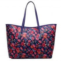 L1516NF - Miss Lulu Fashionable Oilcloth Flower Tote Bag Navy