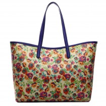 L1516NF - Miss Lulu Fashionable Oilcloth Flower Tote Bag Yellow