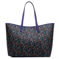 L1516SF - Miss Lulu Fashionable Oilcloth Small Flower Tote Bag Navy