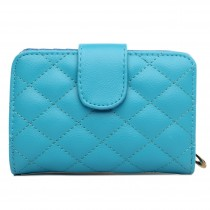 L1517 - Miss Lulu Leather Look Quilted Purse Blue