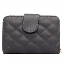 L1517 - Miss Lulu Leather Look Quilted Purse Grey
