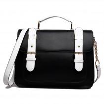 L1521 - Miss Lulu Classic Satchel Shoulder Bag Black