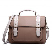 L1521 - Miss Lulu Classic Satchel Shoulder Bag Brown
