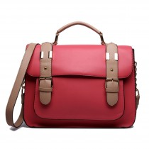 L1521 - Miss Lulu Classic Satchel Shoulder Bag Pink