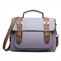 L1521 - Miss Lulu Classic Satchel Shoulder Bag Purple