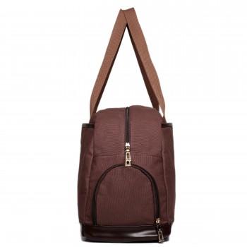 L1522 - Miss Lulu Large Holdall Duffel Bag Coffee