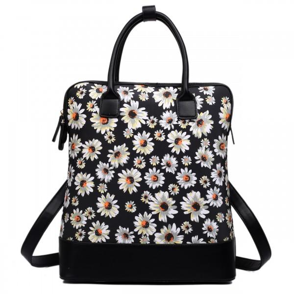 L1523DS - Miss Lulu Large Daisy Backpack Shoulder Bag Black