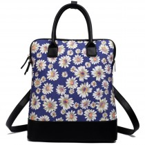 L1523DS - Miss Lulu Large Daisy Backpack Shoulder Bag Navy