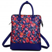L1523NF - Miss Lulu Large Flower Backpack Shoulder Bag Navy