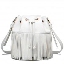 L1524-1 - Miss Lulu Leather Look Drawstring Fringe Shoulder Bag Beige