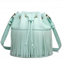 L1524-1 - Miss Lulu Leather Look Drawstring Fringe Shoulder Bag Blue
