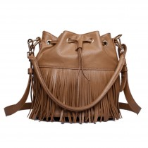 L1524 - Miss Lulu Leather Look Drawstring Fringe Shoulder Bag Tan