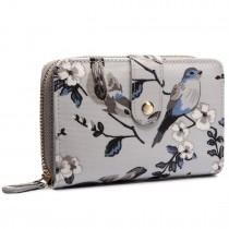 L1580-16J - Miss Lulu Small Oilcloth Purse Flower Bird Print Grey