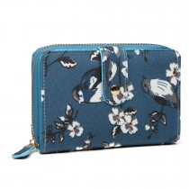 L1580-16J - Miss Lulu Small Oilcloth Purse Flower Bird Print Dark Blue