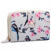 L1580-16J - Miss Lulu Small Oilcloth Purse Flower Bird Print Beige